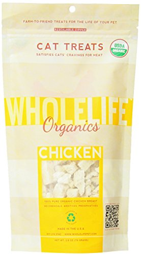 Whole Life Pet Single Ingredient Certified Organic Freeze Dried Chicken Breast Treats for Cats 2.8-Ounce