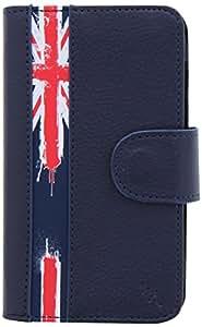T'nB Upfolldm - Funda con tapa para smartphone (piel sintética, tamañoM), diseño de la bandera de Reino Unido, color azul