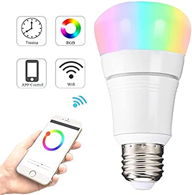 Interlink - Bombilla LED inteligente WiFi regulable sin necesidad de Hub para control de teléfono móvil, multicolor, compatible con Amazon Alexa Google ...