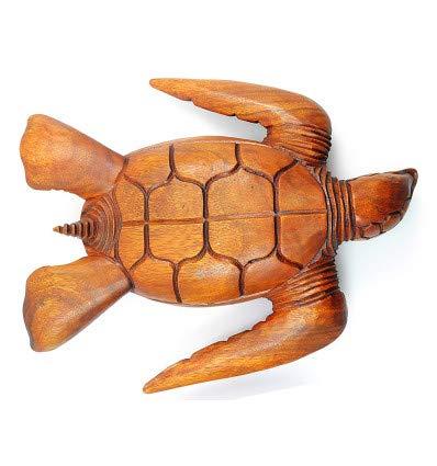 Artigianale Grande Scatola//Svuotatasche in Legno Esotico con Decoro Tartaruga di Mare