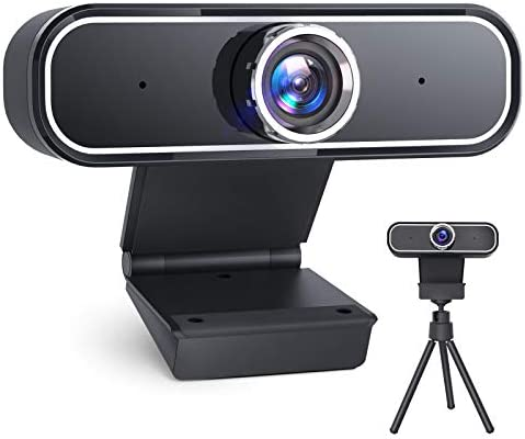 Webcam with Microphone, [2021 Upgraded] 2K QHD 30fps Computer Camera with Tripod, USB Streaming Webcams for PC, Laptop, Desktop Mac Windows, Skype, YouTube, Zoom