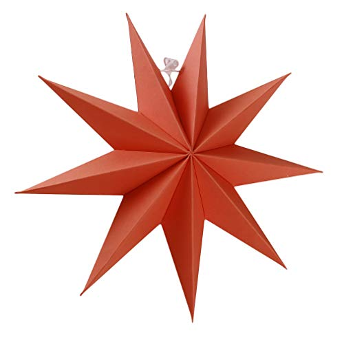 GUAngqi 9 Point Paper Star Decorations Novelty 3D Paper Star Shade for Christmas Halloween Festival Hanging Decor,Orange -