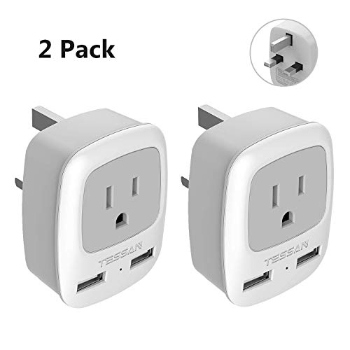 UK Hong Kong Ireland Travel Plug Adapter 2 Pack, TESSAN Type G Grounded Power Outlet Adaptor with 2 USB Ports for USA to London Scotland Dubai British England