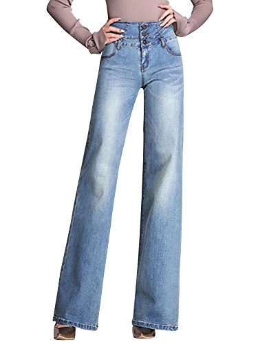 Women's High Waist Wide Leg Denim Flare Jeans Palazzo Jeans Long Pants Light Blue Tag 33-US 16