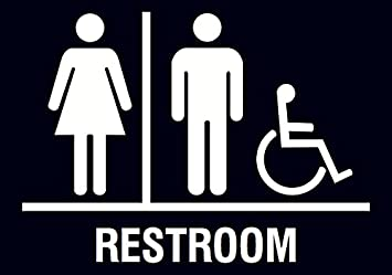 Amazon Family Restroom Handicap Accessible Horizontal Bathroom Black Sign Office Products