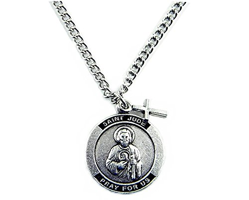 (PlanetZia Creations St. Jude Patron Saint of Hope and Impossible Causes Round Medal Necklace with Cross TVT-RSJ-1)