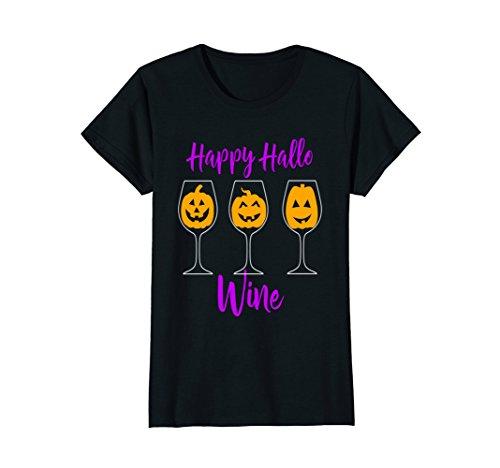 Womens Funny Halloween Shirt Happy Hallow Wine Drunk Mom Wife Besti Large Black (Halloween Shop Nyc)