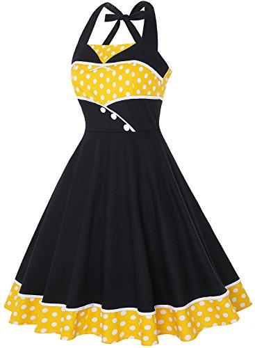 IHOT Swing 50s Women's Dress Polka Rockabilly Polka Yellow Halter Dot Cocktail Dots Vintage AqAw8xOEr