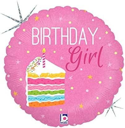 Awe Inspiring Happy Birthday Girl Cake Holographic 18 Inch Foil Balloon Personalised Birthday Cards Beptaeletsinfo