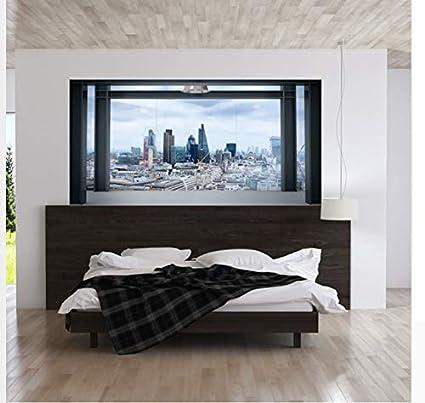 Gran ventana falsa ciudad moderna paisaje cabecera de la ...