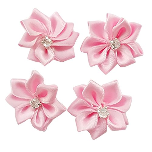 DANDAN DIY Upick More Than 26 Colors 40PCS Satin Ribbon Flowers Bows Rose w/ Rhinestone Appliques Craft Wedding Dec (Pink)