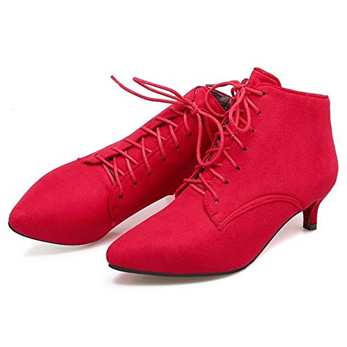 Cheville Haut Decontracte A Heel Lacets Kitten Coolcept Bottes Femmes Red CqxTf