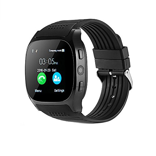 sweetnice T8 BT3.0 Smart Watch Support SIM and TFcard Camera for Android for iOS,Smartwatch with Sleep Monitoring Bluetooth Pedometer (Black)