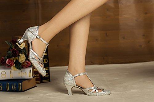 Minitoo Women's T-strap Silver Glitter Salsa Tango Ballroom Latin Dance Shoes Wedding Pumps 6 US