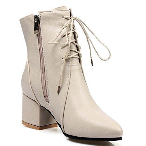 COOLCEPT Damen Mode Stiefel Zipper Beige