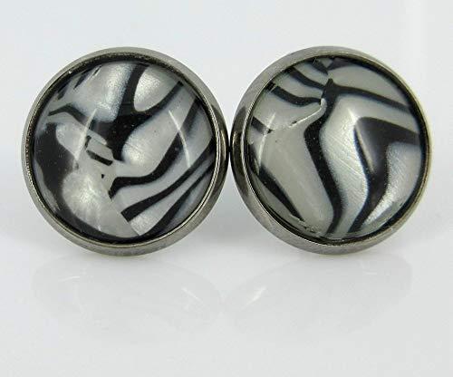 Hematite-tone Black and White Zebra Print Stud Earrings 12mm ()