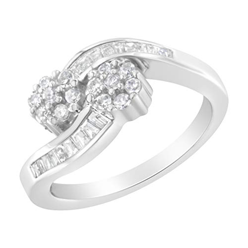 14K White Gold Round And Baguette Diamond Bypass Ring (1/2 cttw, H-I Color, I1-I2 Clarity) (Baguette Swirl Bypass Ring)