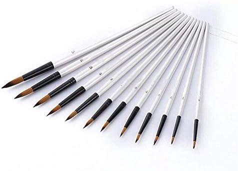 水彩 12PCSヒント/フラットは、ブラシをブラシセットのアーティストクラフトアートキットをペイントブラシセットアクリルオイル水彩ペイントペイントペイント ブラシアク (Color : Tip)