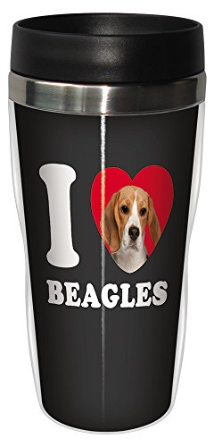Tree-Free Greetings SG25003 I Heart Beagles Sip 'N Go Stainless Lined Travel Tumbler, -