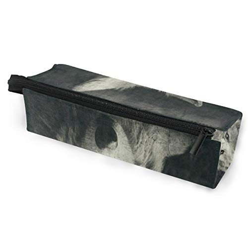 Glasses Case Halloween Night Wolf Multi-Function Zippered Pencil Box Makeup Cosmetic Bag for Women