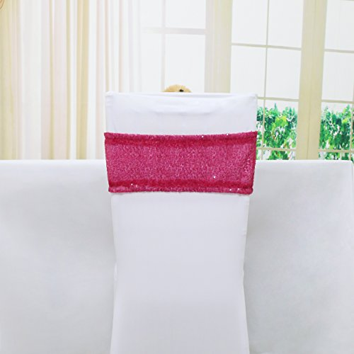 TRLYC Pack of 10 Spandex Chair Sequined Sashes 6 by 17Inch- Fushia Pink ()