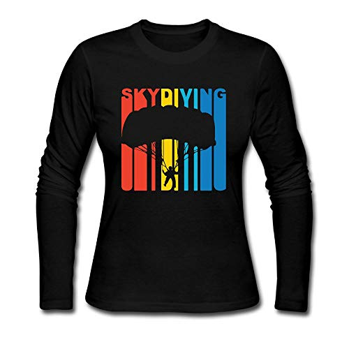 - QAQ_SHIRT 1970's Style Retro Skydiving Women's Crew Neck Long Sleeve Shirts Tops