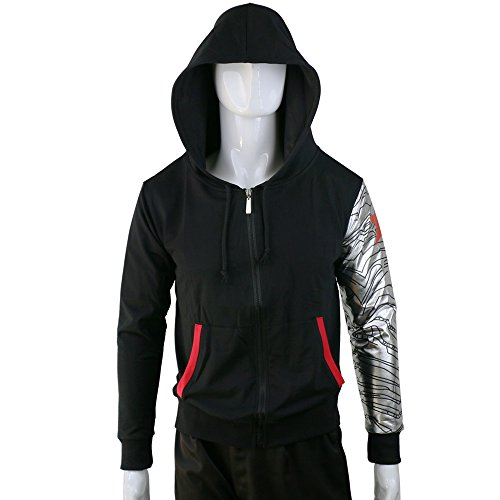 BFJ Mens Winter Soldier Bucky Barnes Zipper Adult Unisex Cosplay Hoodie Costume, Medium, Black