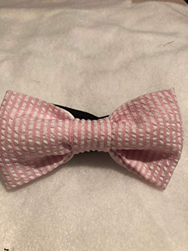 Pink and white cotton Seersucker Spring Easter Bow tie