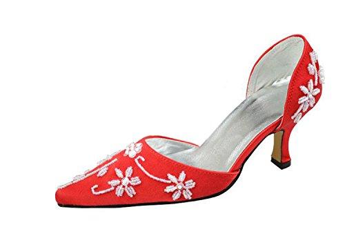 Kevin Fashion mz1192Ladies para cuentas satén para novia boda formal fiesta noche Prom zapatos de bombas Red