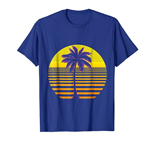 Mens Retro Sunset Palm Tree Classic Outrun T-Shirt XL Royal Blue -