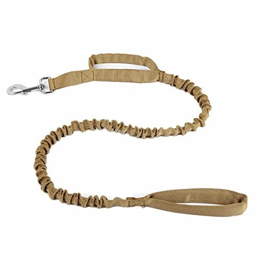 (Heavy Duty Adjustable Nylon Tactical Military US Army Police Dog Training Leash Elastic Pet Quick Release Control Leads Rope (Brown))