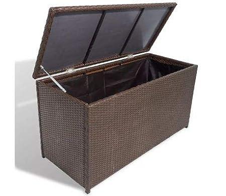 vidaXL Garden Storage Chest Poly Rattan Black Bench Cabinet Box Organizer