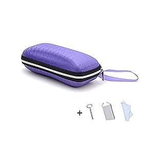 LANGUAN Portable Zipper Eyeglasses Case, Honeycomb Glasses Sunglasses Hard Case Box Protector for Men & Women or Children(Purple)