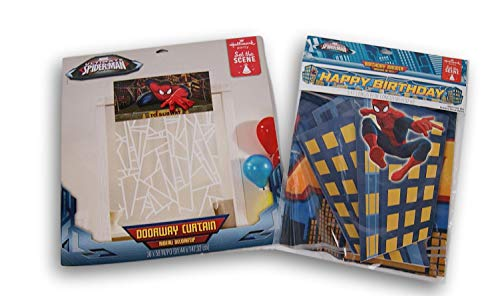 Ultimate Spider-Man Party Decoration Kit - Doorway Curtain and Birthday Banner -