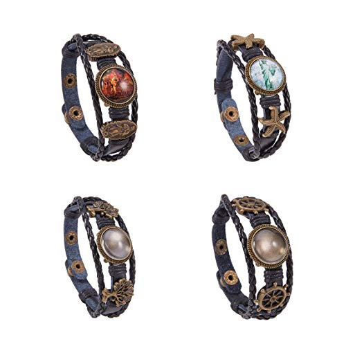 SUNNYCLUE DIY 4 Sets Braided Leather Bracelet Making Kit Multilayer Rope Bangle Cuff Wristband with Blank Alloy Cabochon Bezel Tray, Clear Glass Cabochon 18mm, Button Adjust, Mixed Shapes