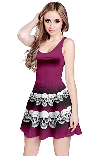 Bones Dark Skulls 5XL Black Sleeveless Magenta Gothic Horror Scarry Weirdo XS Creepy CowCow Skeleton Womens Dress Skull Grunge xaqwIw6v