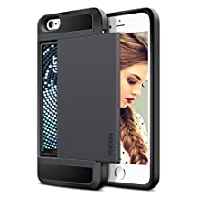 iPhone 6S Case, iPhone 6 Case, Vofolen® Impact Resistant Protective iPhone 6 Wallet Cover Shockproof Rubber Bumper Case Anti-scratches Hard Shell Skin with Card Slot Holder for iPhone 6S - Black