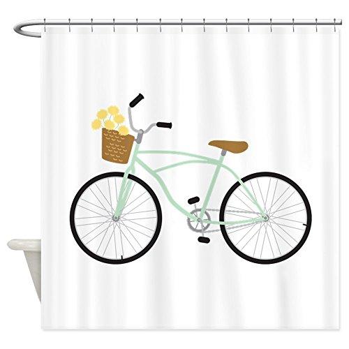"CafePress Bicycle Flower Basket Decorative Fabric Shower Curtain (69""x70"")"