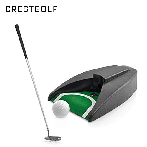 Crestgolf Indoor Golf Practice Set Golf Ball Automatic Kick Back Return Putting Cup Device Golf Training Aids with PU carrying bag