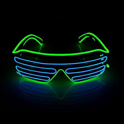OxoxO Light-up Illuminated Neon Electroluminescent EL Wire LED Glasses Light Shutter Frame Costumes Glasses Eyeglasses Two Colors