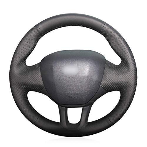 XHCP Black leather car steering wheel cover for Peugeot 208 2011-2019 Peugeot 2008 2013-2019: