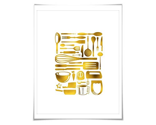 Kitchen Utensils Gold Foil Art Print. 7 Foil Colours/3 Sizes. Cutlery. Cooking Kitchen Poster Chef Cook Gift