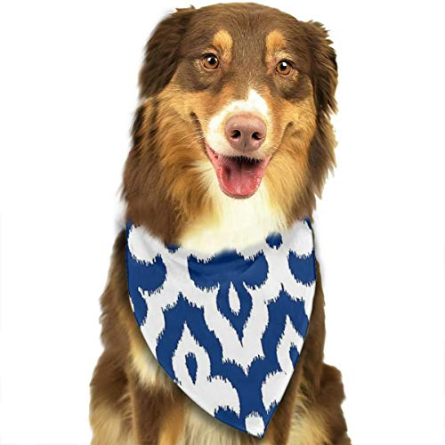 HGFR Moroccan Ikat Damask Cobalt Blue and White Customized Dog Headscarf Bright Coloured Scarfs Cute Triangle Bibs Accessories for Pet Dogs