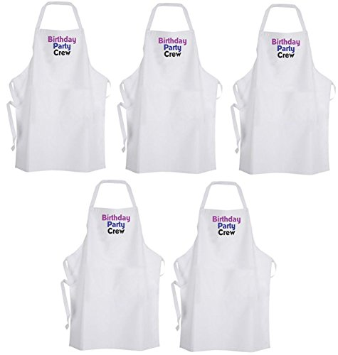 QTY 5 Birthday Party Crew (Purple & Blue) Adult Size Aprons – Celebrate by Aprons365