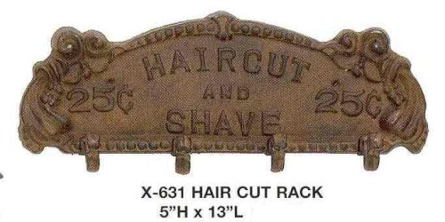 (Upper Deck Antique Style Iron Barber Haircut and Shave Coat Rack Brown)