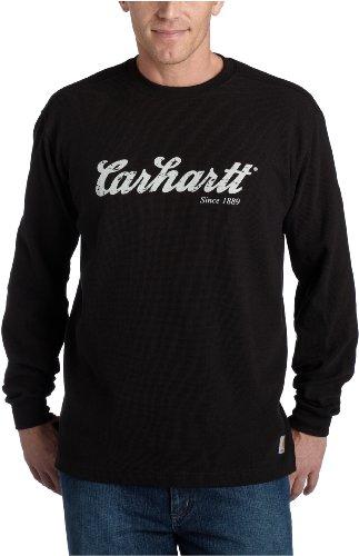 Carhartt Men's Textured Knit Long Sleeve Crewneck Script Logo,Black  (Closeout),XX-Large Tall ()