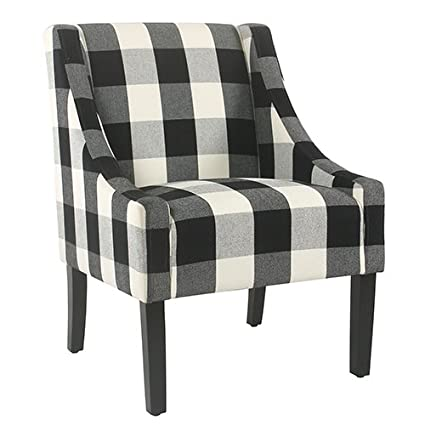 Amazoncom Meadow Lane Modern Swoop Black Plaid Accent Chair Home