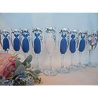 EXACT DRESS REPLICA, Hand Painted Bridesmaid Champagne Glasses, Bridesmaid Wine Glasses, Bridal Champagne Bridesmaid Gifts, Bridal Champagne Glasses, Bridal Glassware, Blue Dresses, EXACT DRESS