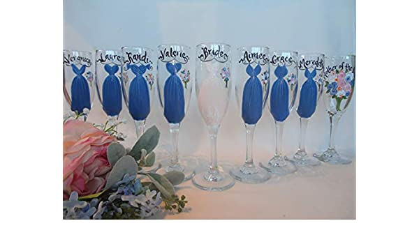 740eb8e5a0d Amazon.com: EXACT DRESS REPLICA, Hand Painted Bridesmaid Champagne Glasses, Bridesmaid  Wine Glasses, Bridal Champagne Bridesmaid Gifts, Bridal Champagne ...