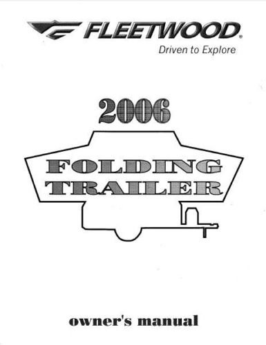 FLEETWOOD Popup Trailer Owners Manual-2006 Evolution E2 E1 [Plastic Comb] Col... (Fleetwood E2 compare prices)